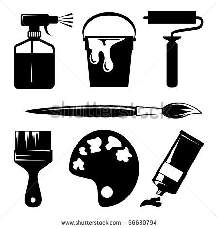 Set Of Vector Silhouette Icons Of Paint And Painting Tools Stock Vector Silhouette Image Vectorielle Ensembles D Icones