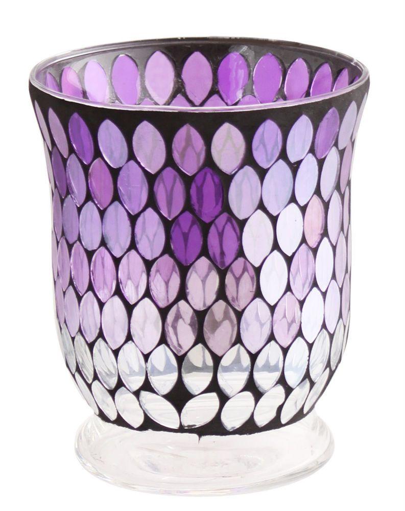 Purple Plum Teardrop Glass Mosaic Hurricane Cup Vase Tealight Candle Holder in Home, Furniture & DIY, Home Decor, Vases | eBay!