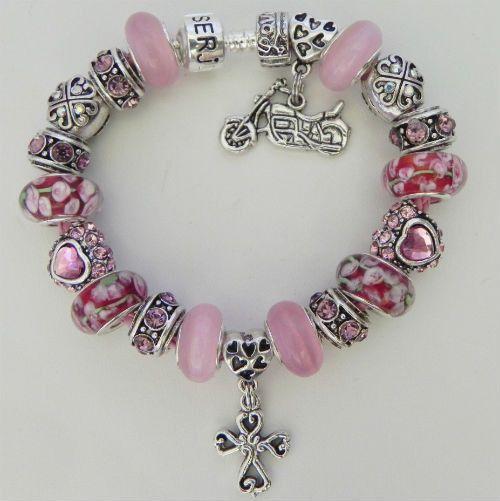 Heart Cross Charm Bracelet (Pink)