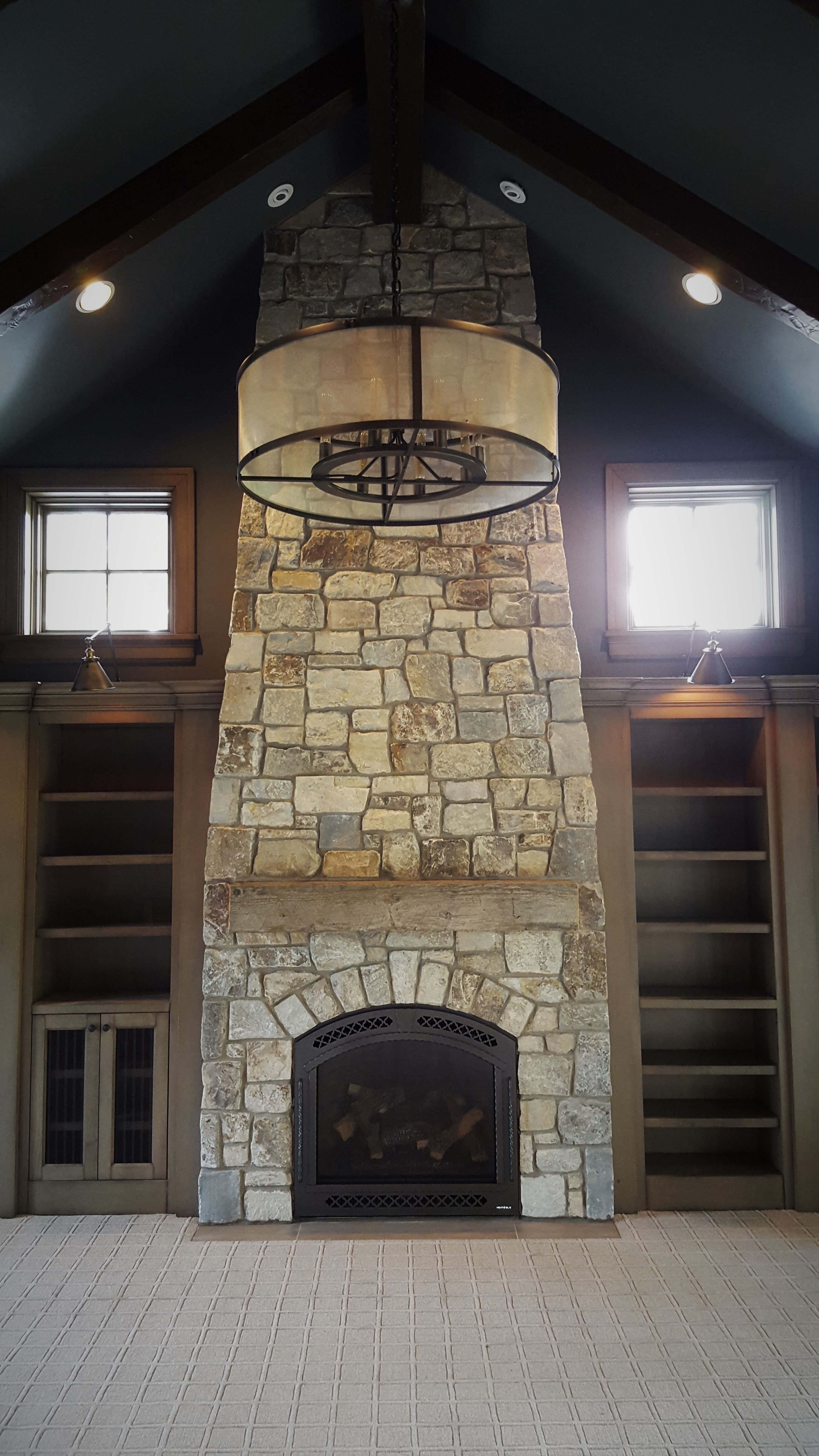 natural stone fireplace office study room den new construction rh pinterest com study room desk study room designs ideas