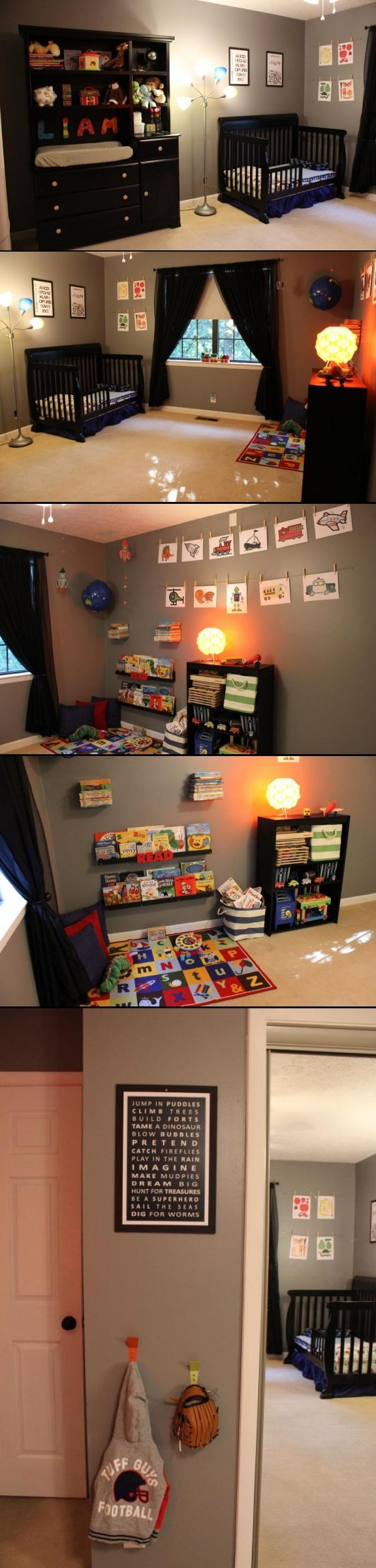 Toddler boy room with gray walls and black furniture