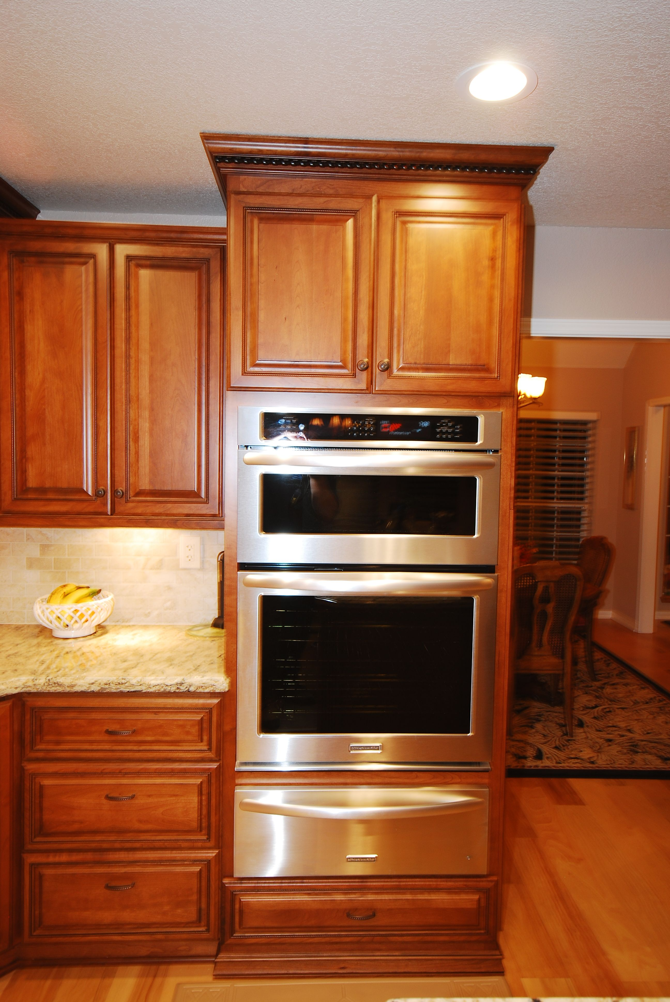 Starmark Cherry Cabinets With Kitchenaid Oven Microwave Combo