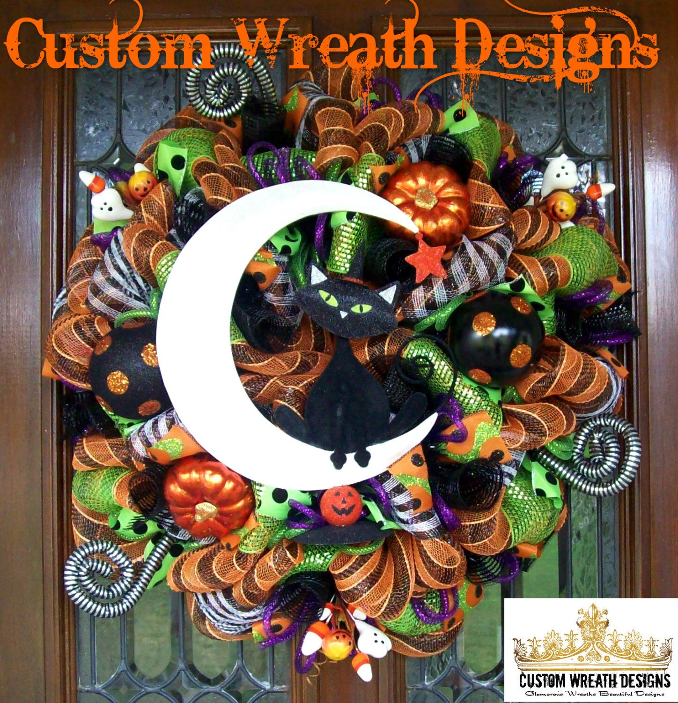 Whimsical Halloween wreath, Halloween Wreath, Halloween front door - halloween front door decor