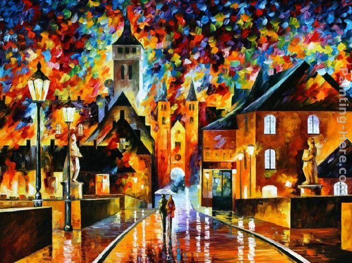 Leonid Afremov NIGHT IN THE OLD CITY