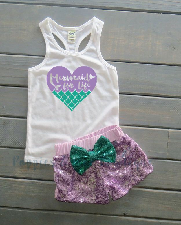 505ed2eb4 Mermaid For Life Outfit, Mermaid Birthday Outfit, Under the Sea, Cute Girls'  Clothing, Gifts For Her, Sequin Shorts, Girls' Summer Outfit