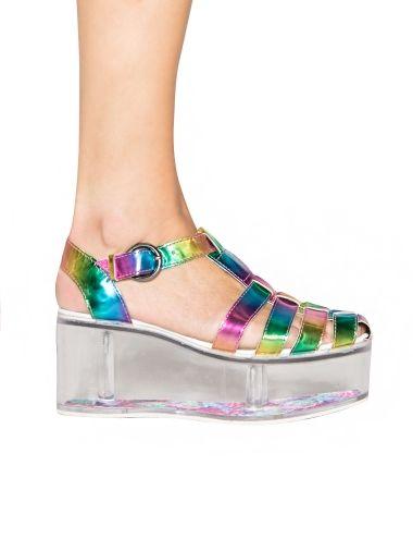 1de77756d3f0 Charlii Rainbow Hologram Platform Sandals - YRU Lucite Flatforms -  158