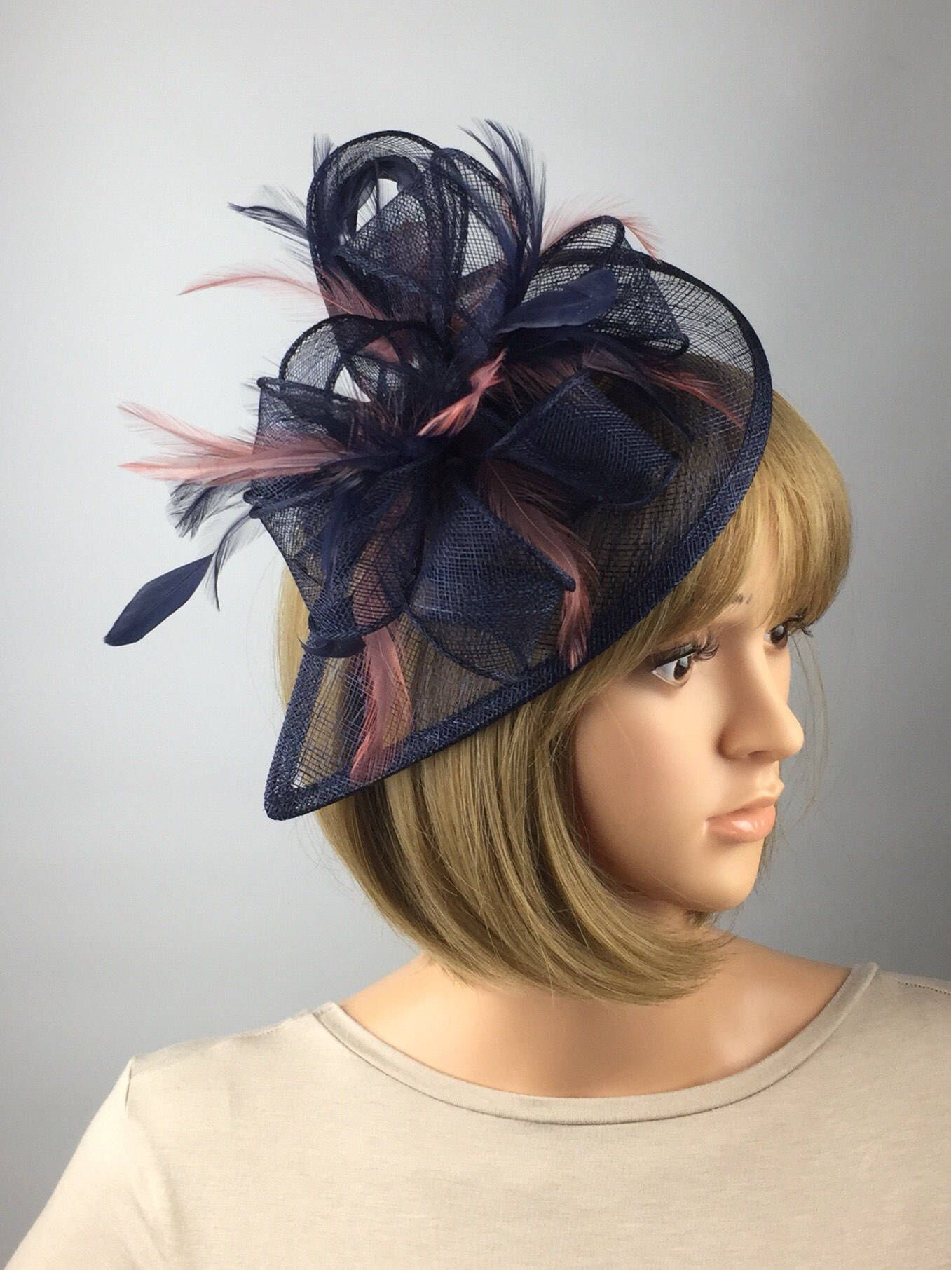 73d09834f8466 Excited to share the latest addition to my #etsy shop: Dark Blue Navy Blue  and blush pink Fascinator Sinamay Fascinator wedding mother bride Ladies  Day ...
