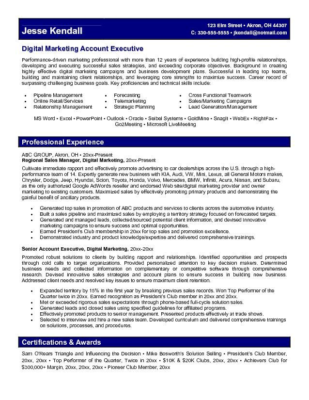 sample digital marketing account executive resume - her inc