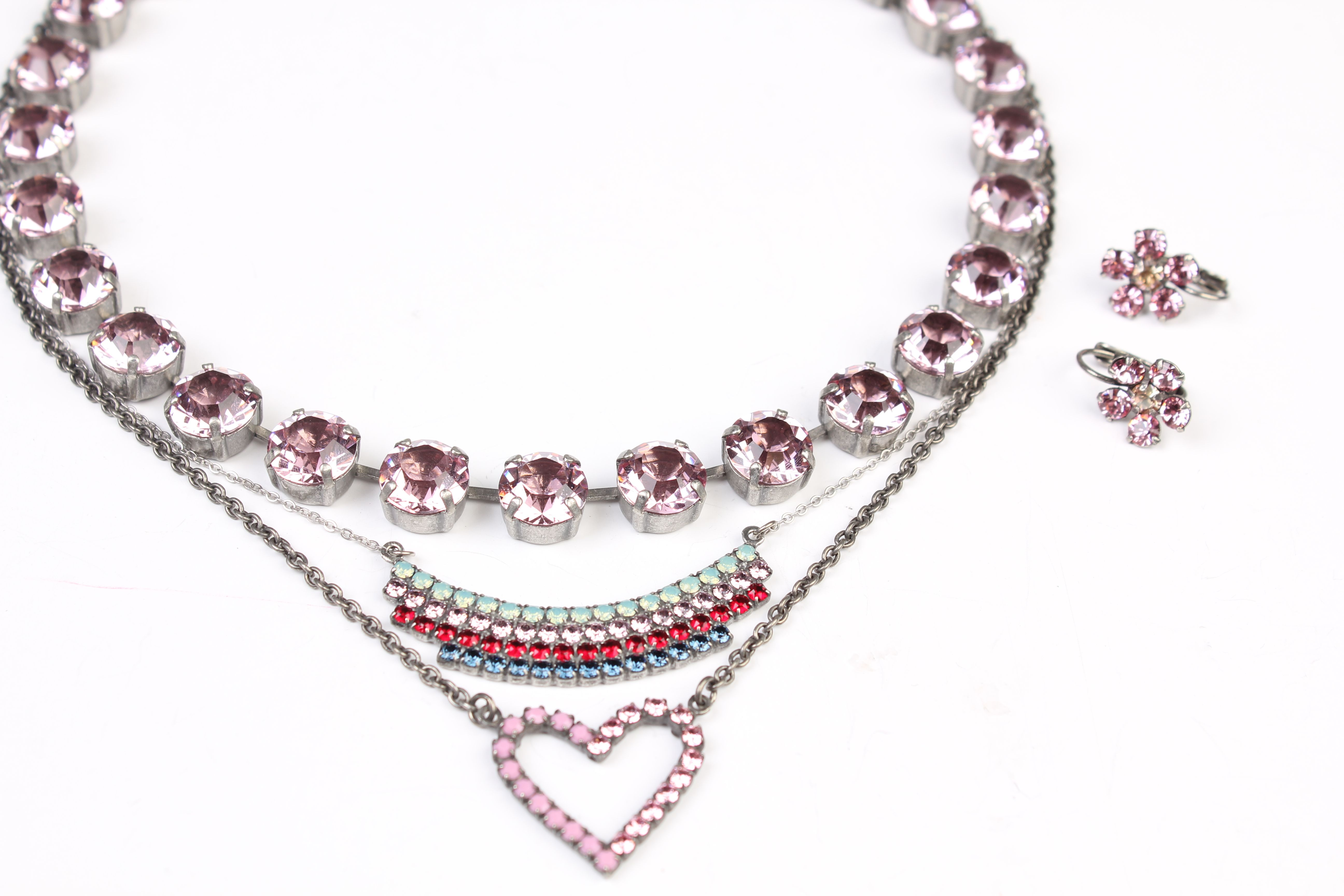 Sabika look necklace - La Vie En Rose Manhattan Choker Paired With Hearts Stripes Striped Necklace Celebrations Light