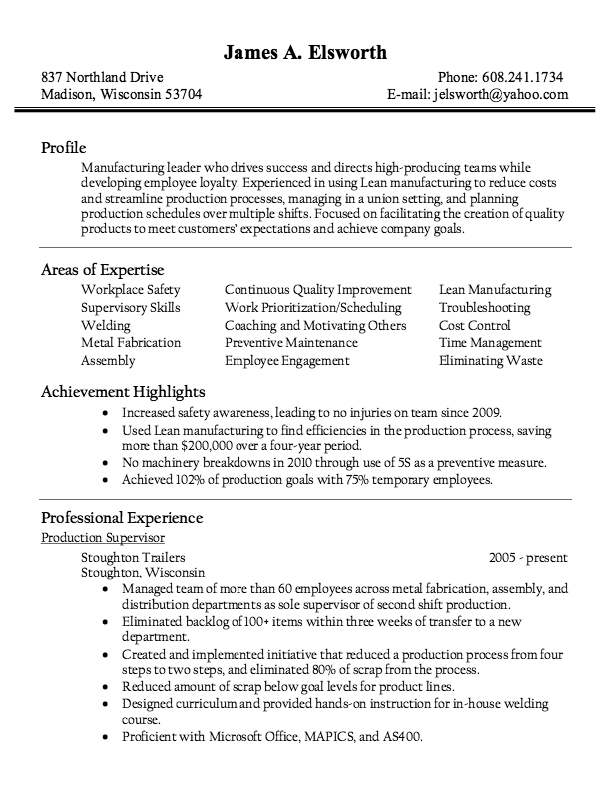 Production Supervisor Resume Sample Resumesdesign Resume Writing Samples Resume Examples Resume Skills