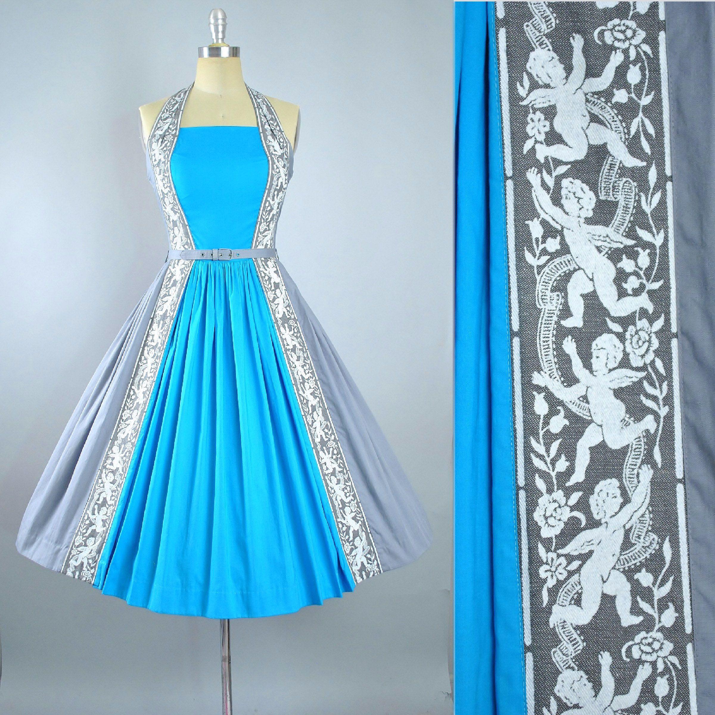 Vintage 50s Novelty Print Dress / 1950s Cotton Belted Sundress ...