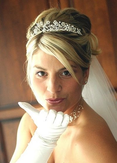 Updo Wedding Hairstyle With Fringe And Tiara Short Wedding Hair Bride Hairstyles Wedding Hairstyles With Veil