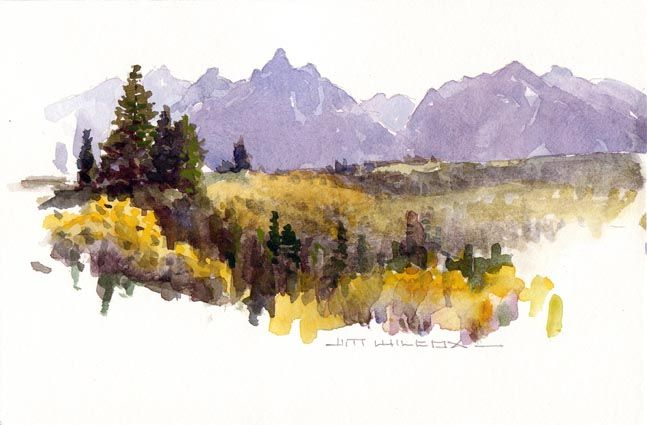 Original Watercolor Landscape Vignette By Jim Wilcox Of Tetons In
