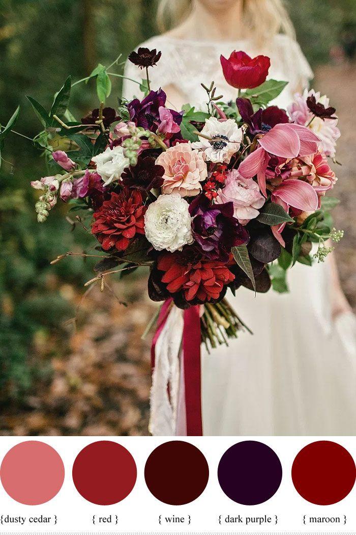 Dark Purple And Shades Of Red Autumn Wedding Bouquet Fabmood