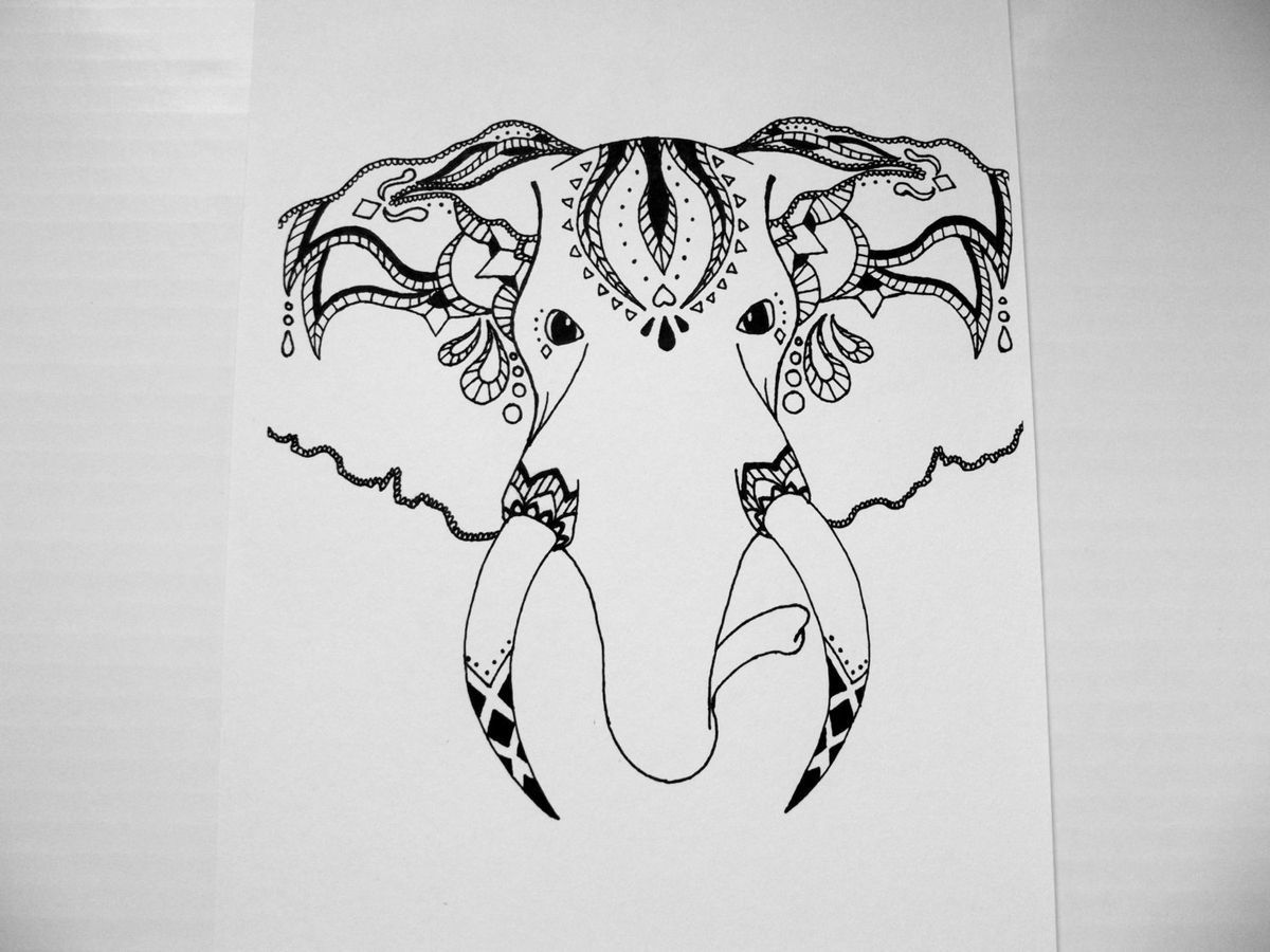 This is amazing. It\'s a tribal elephant | elephant drawings | Pinterest