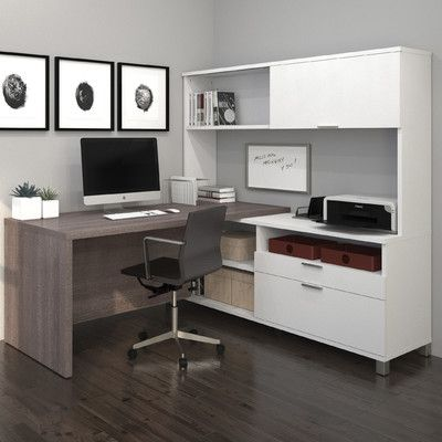 Mercury Row Ariana 3Piece LShape Desk Office Suite Color Bark Grey