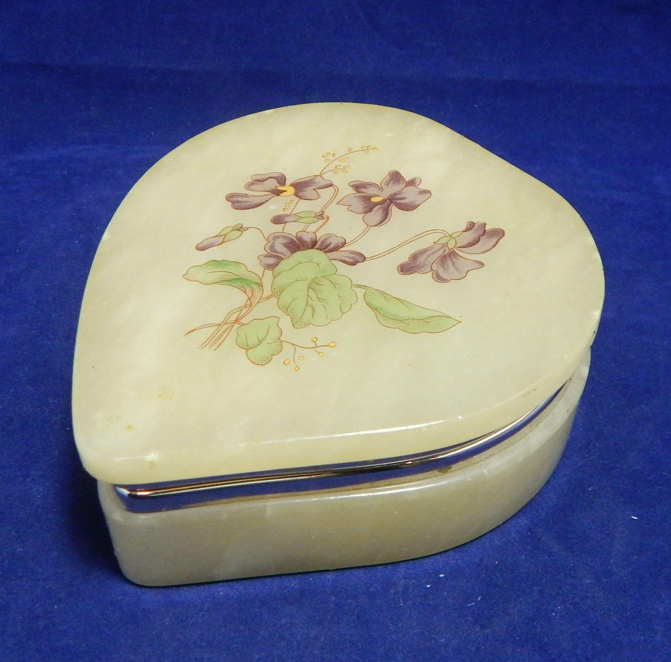 Genuine Vintage hand painted floral Hinged Trinket Box jewelry Box .