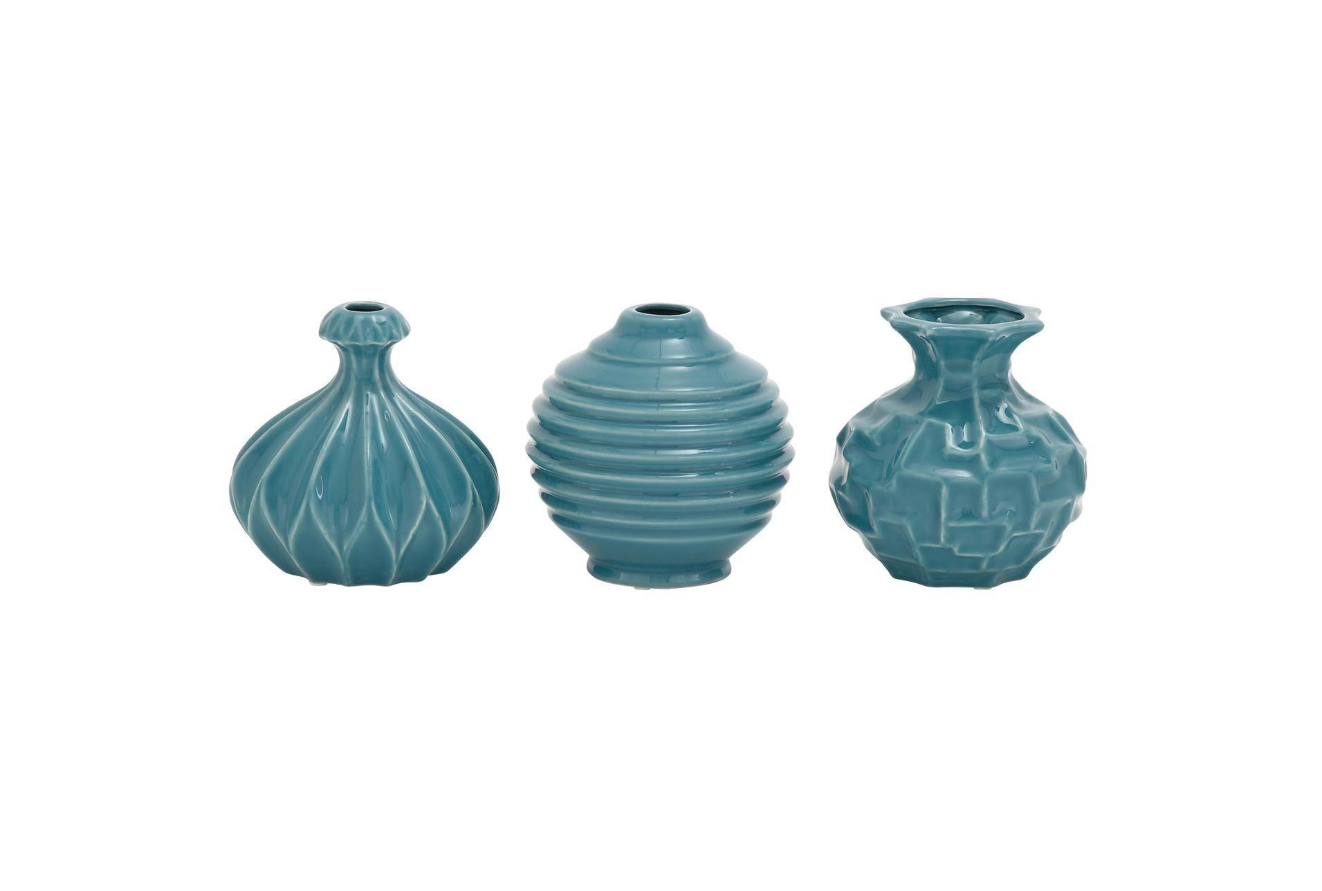 Blue Textured Ceramic Vase-Set Of 3 - $65