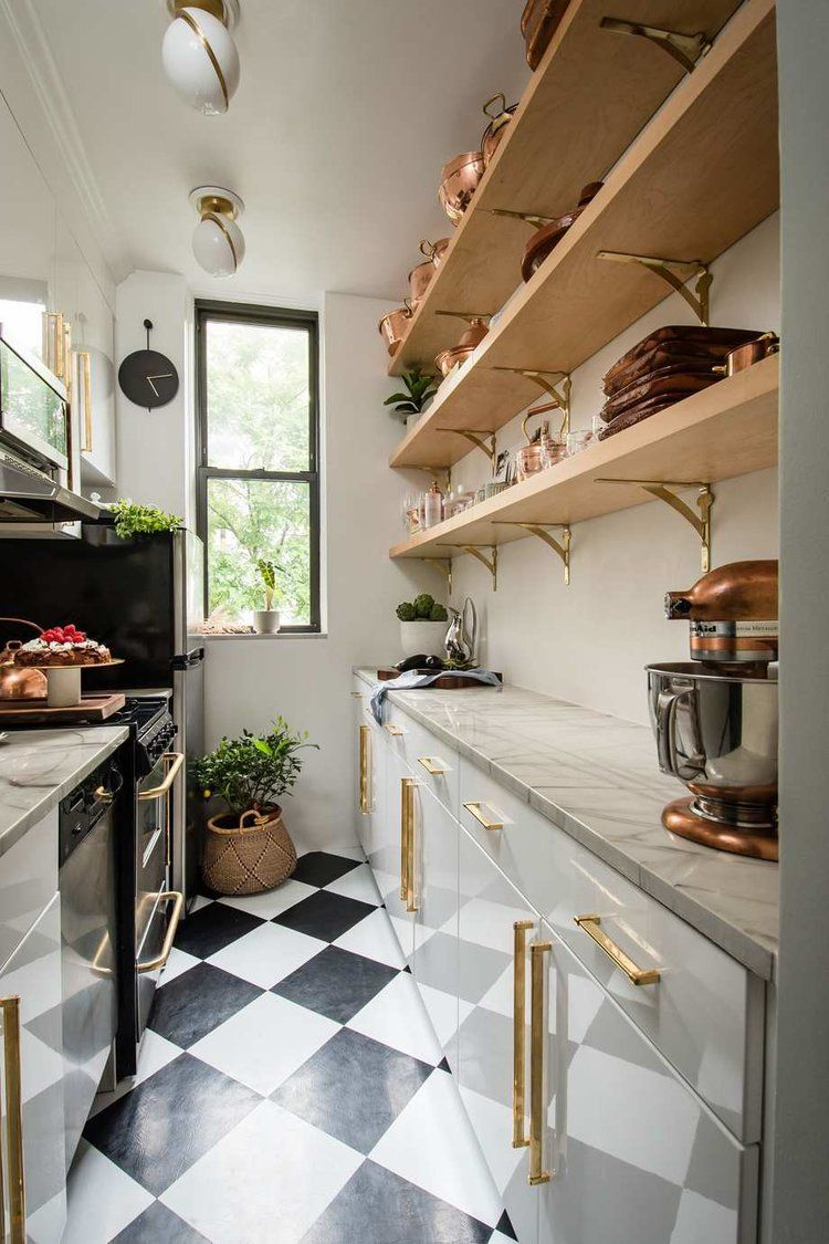 Kitchen with open shelves and checkerboard floor