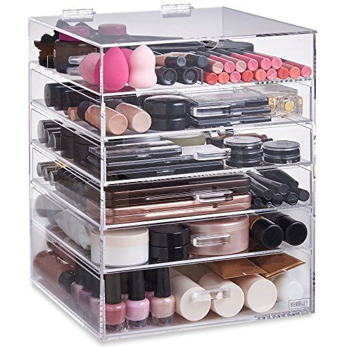 Beautify Extra Large 6 Tier Clear Acrylic Cosmetic Makeup Storage Cube  Organizer With 5 Drawers, Upper Compartment And Removable Divider   15 X 12  X 12 ...