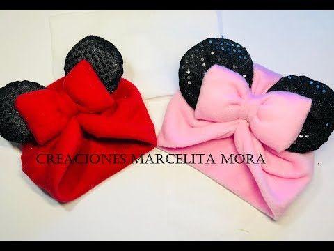 DIY- Como Hacer un Gorro MINNIE MOUSE Facil en Tela   How to Make Fabric  Hat Baby Girl - YouTube fa11f4a0042
