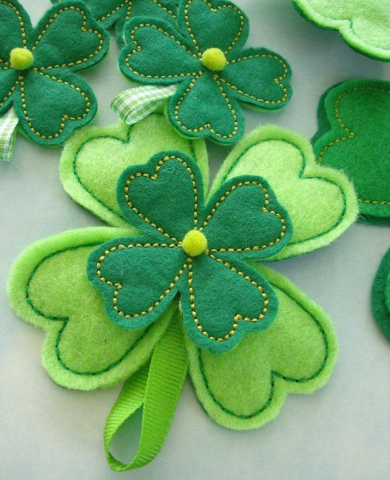 Embroidery Flower - Four Leaf Clover for Machine Embroidery - In-The-Hoop - three sizes #fieltromanualidades