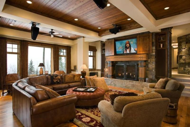 Rustic Fireplace Design Ideas, Pictures, Remodel, And Decor   Page 8 Love  The Living Room For A Lake House But Love The Tv Above The Fireplace In Any  House