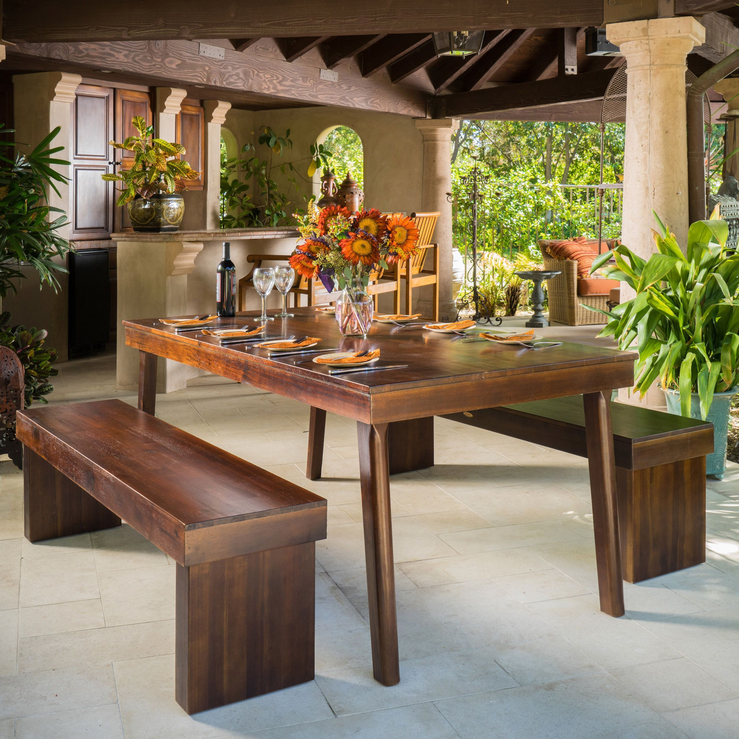 Greenway 3 Piece Wood Dining Set By Christopher Knight