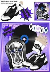 Rock n Roll in the diner   in purple with juke box  fries and Accessories 8x8 on Craftsuprint - View Now!