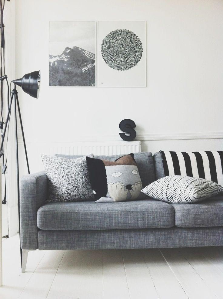 Sofa gris estilo escandinavo cojines pinterest - Cojines de salon ...