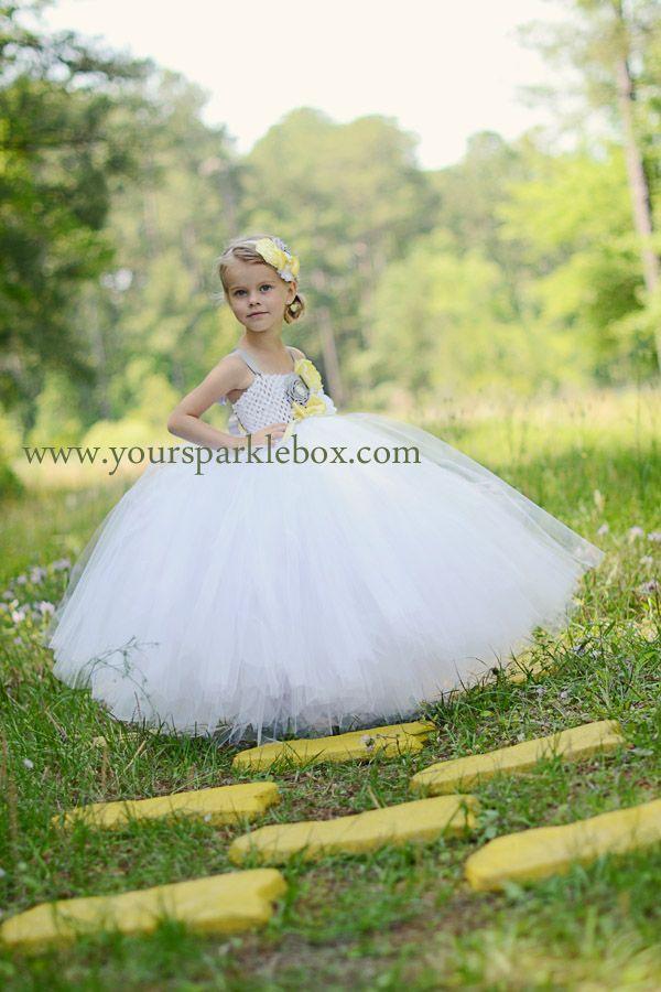 3031bd2de White Yellow Silver Flower Girl Tutu Dress by YourSparkleBox ...