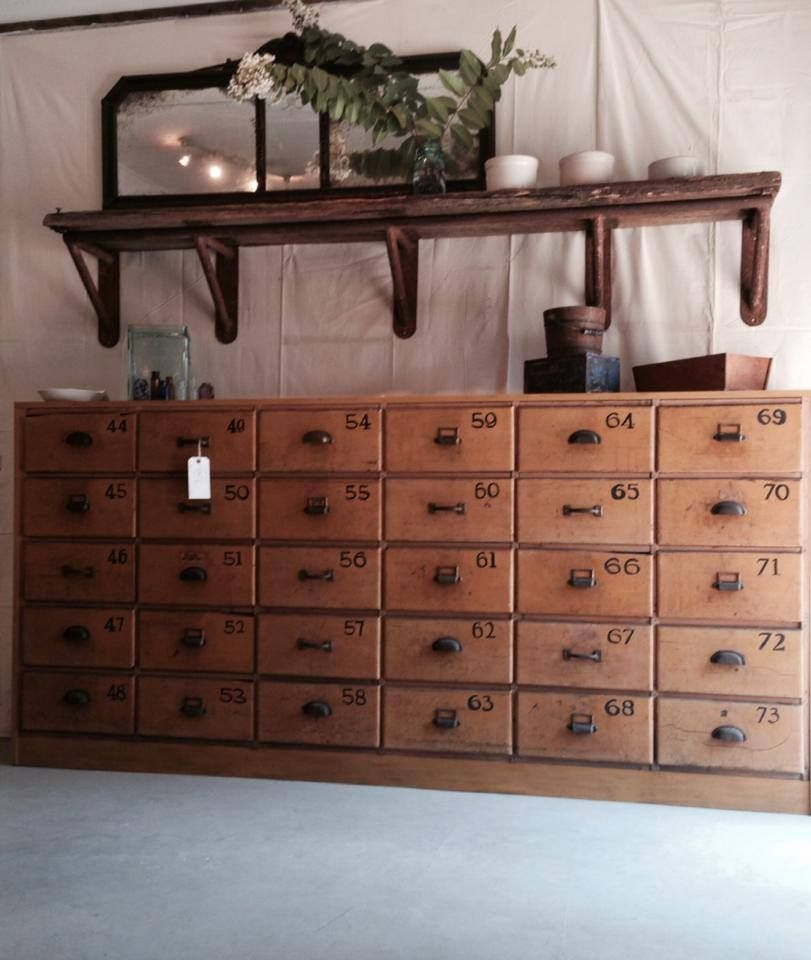 Shabby Rustic Cottage Chic Industrial Eclectic Vintage Multi Cubbie Cabinet