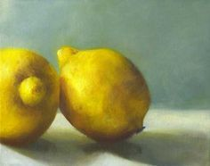 mouthwatering oil painting still life of two juicy yellow lemons