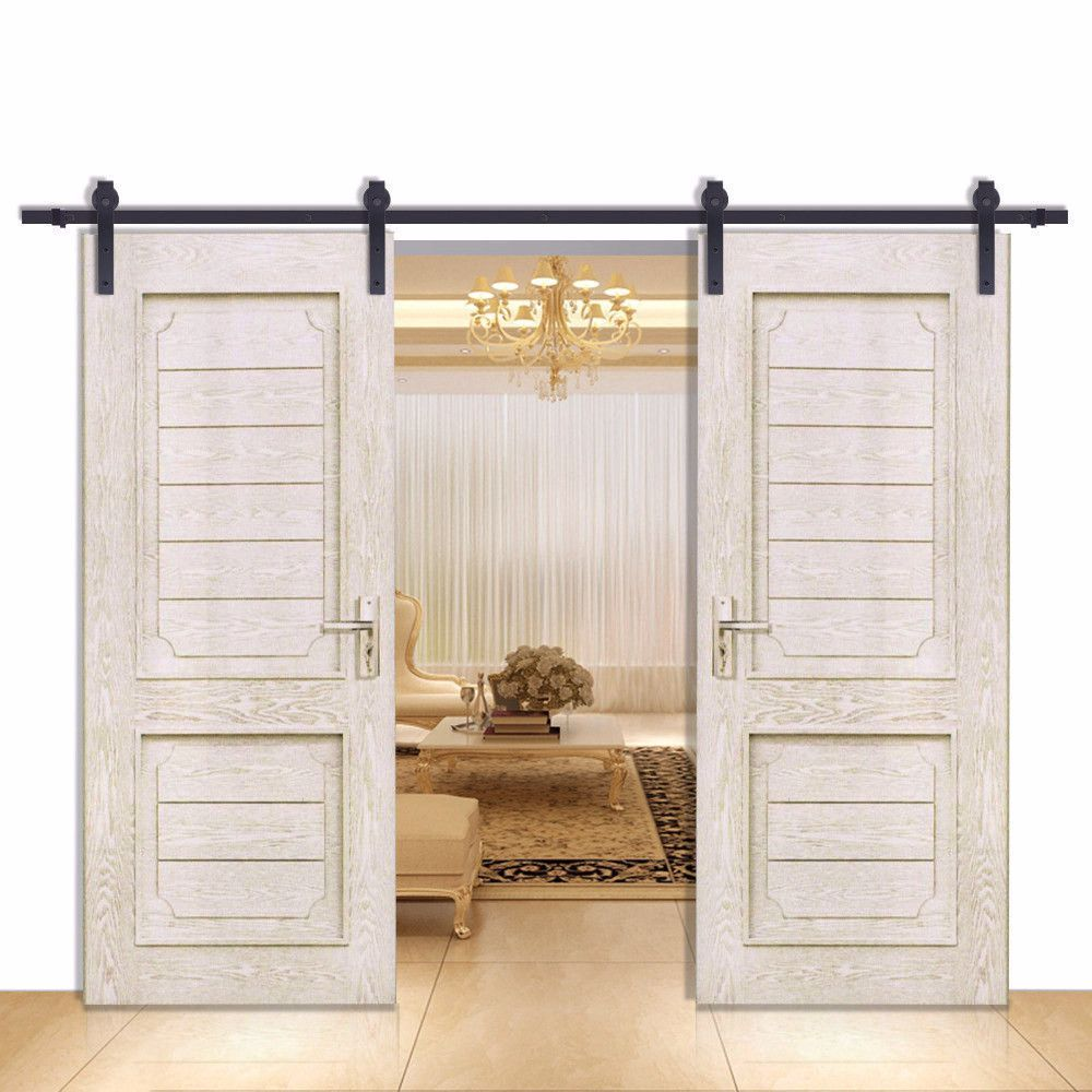 Barn Door Hardware 12ft Straight Black Double Door Double Sliding Barn Doors Wood Doors Interior Home