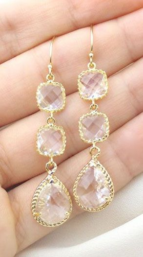 Clear Crystal / Gold Three Piece Rope Rim Earrings