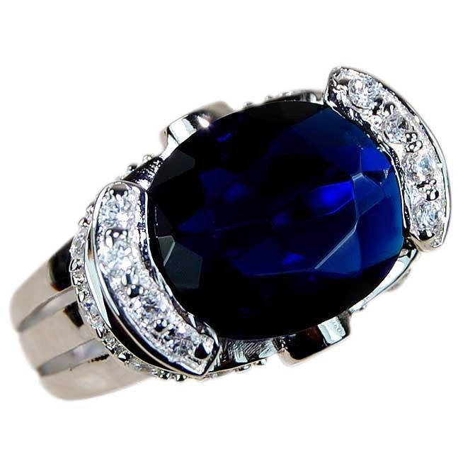 Fine Jewelry Color-Enhanced Blue Sapphire and Genuine White Topaz Sterling Silver Ring WyB3QoUN1
