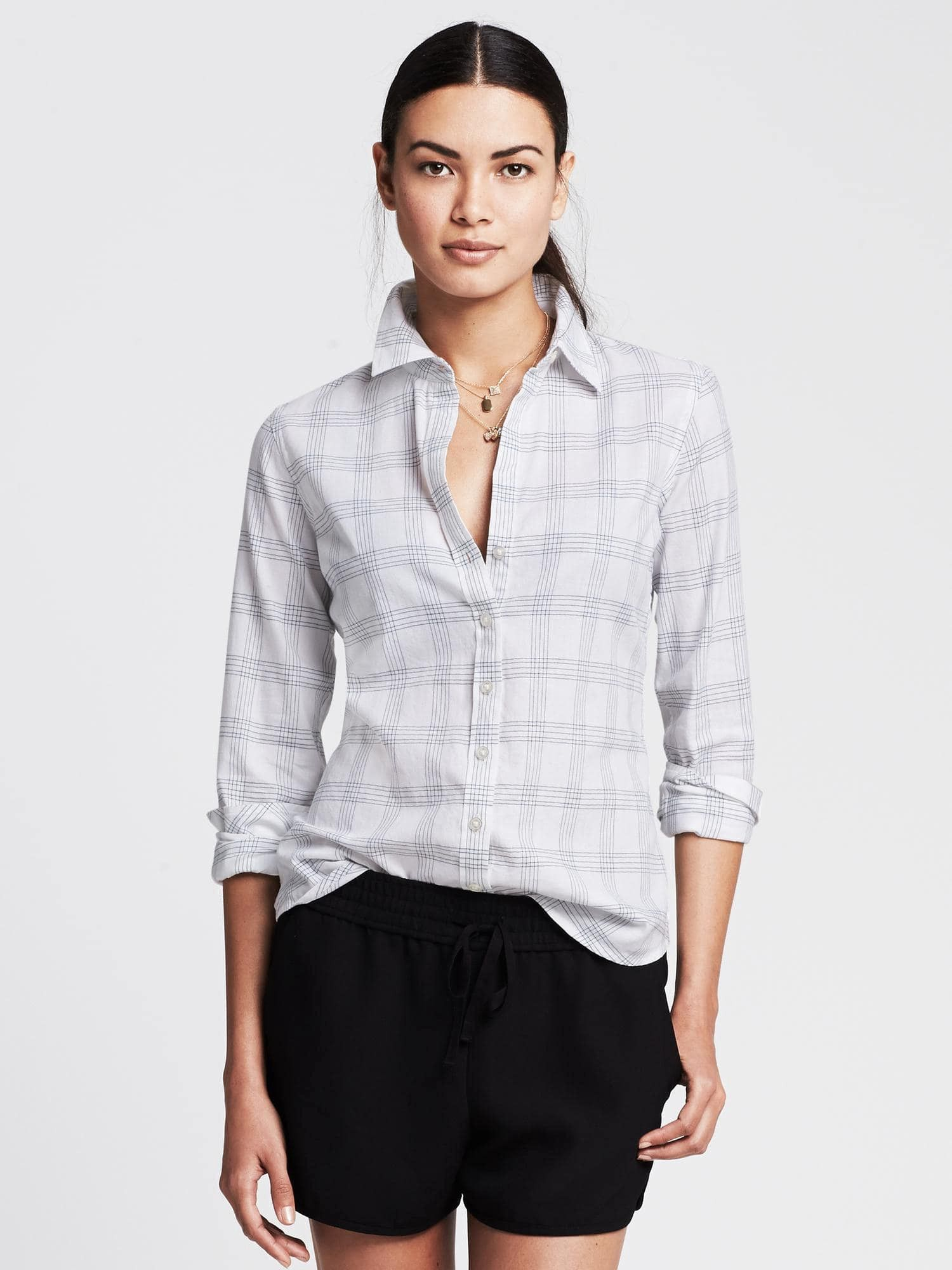 Banana Republic Womens SoftWash Checkered Flannel Shirt