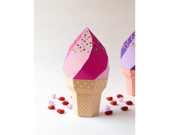 DIY icecream favor box, Strawberry icecream soft serve waffle cone ...