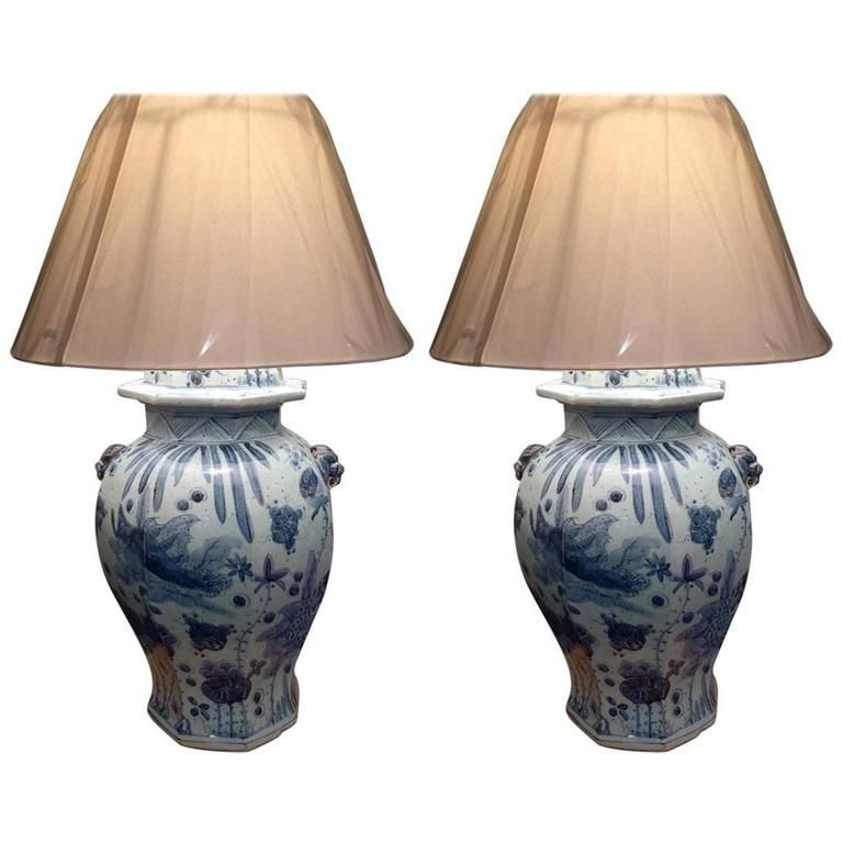 Large Pair Of Chinese Blue And White Ginger Jar Lamps See More Antique Modern