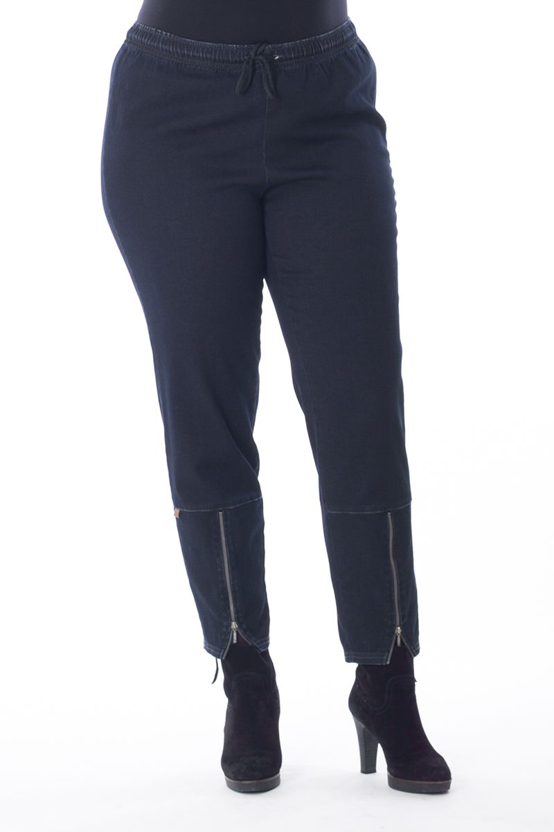 Exelle | Very comfortable to wear, these jeans made from a high-stretch cotton denim. Metal-look zippers in front legs end with a curve at the hem. Elastic waistband with cord.
