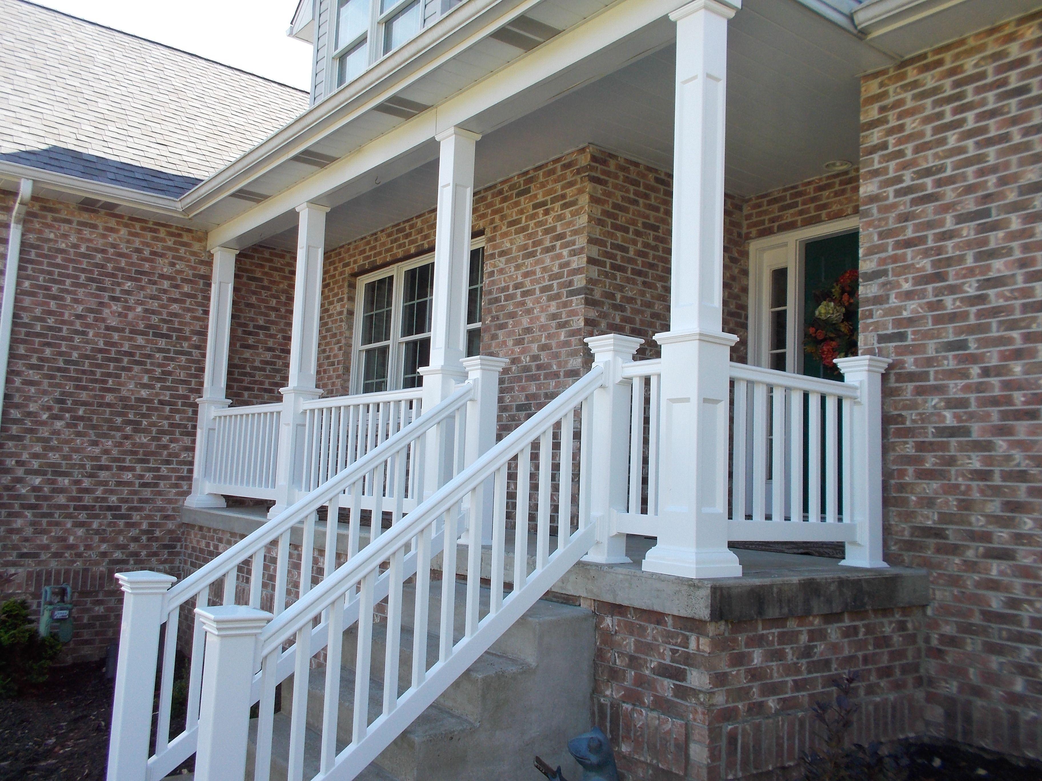 vinyl porch railing and posts | Porch railing, Deck ...