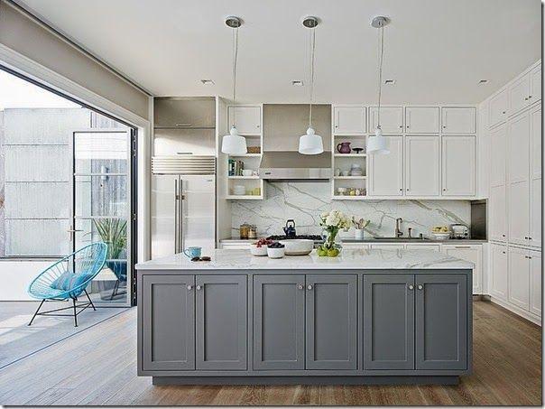case e interni - san francisco - cucina bianca grigia 2 | Kitchen ...