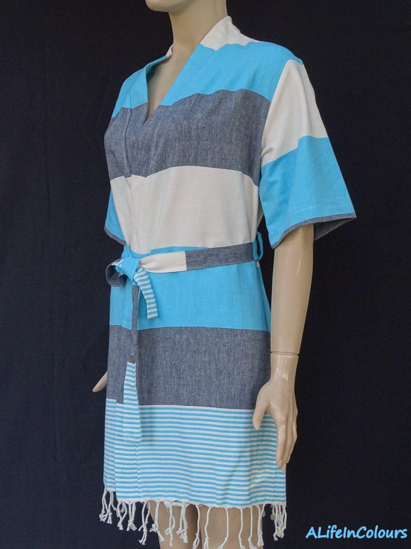 Women\'s black and turquoise striped soft light weight cotton kimono ...