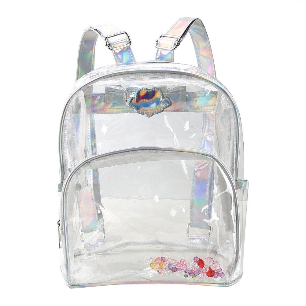 b8a050a10e81 Girl s Mini Clear Transparent Backpack Satchel Tote With Laser Shoulder  Straps