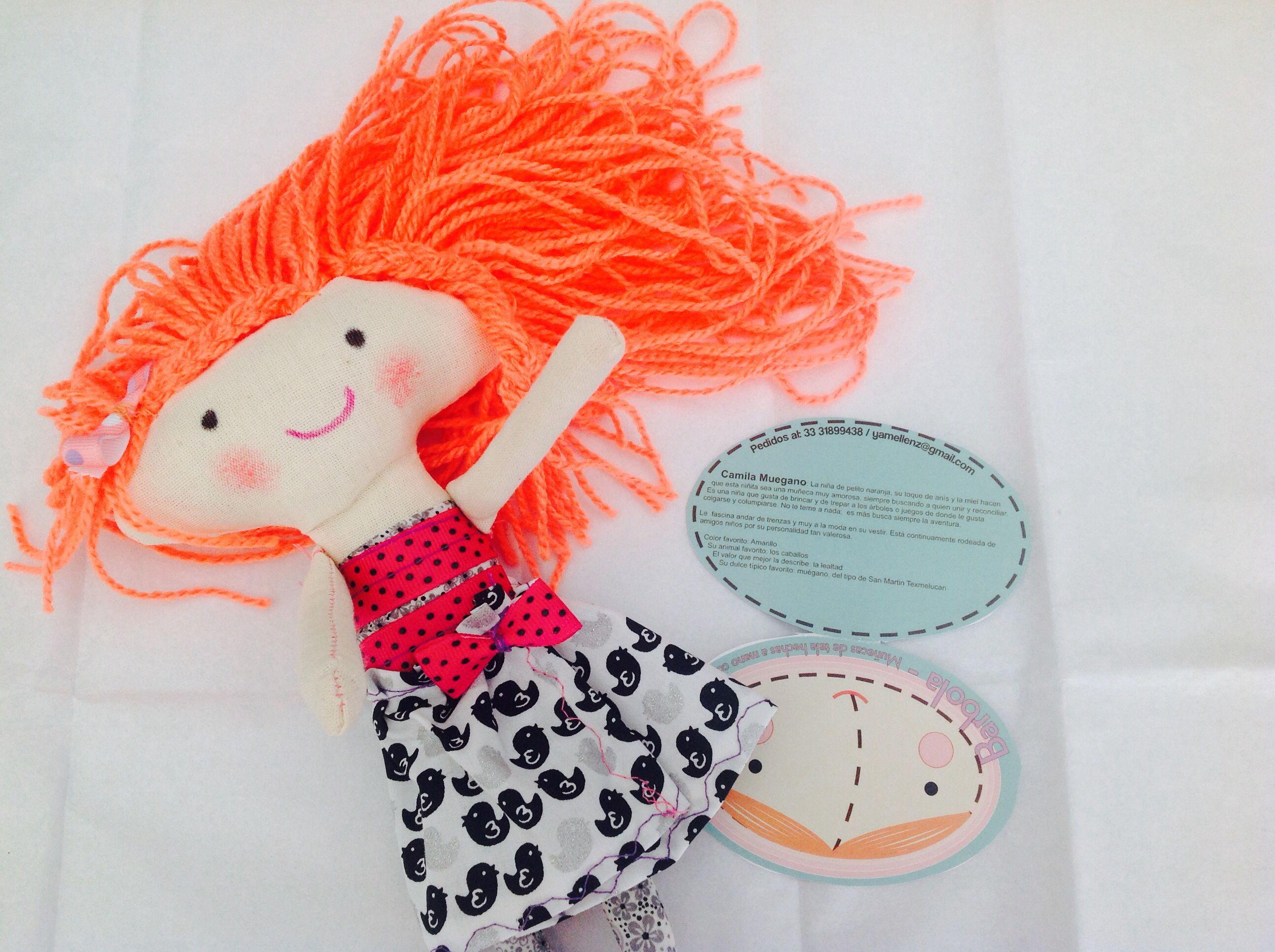 Camila Muegano orange hair rag doll, muñeca de trapo, cabello ...