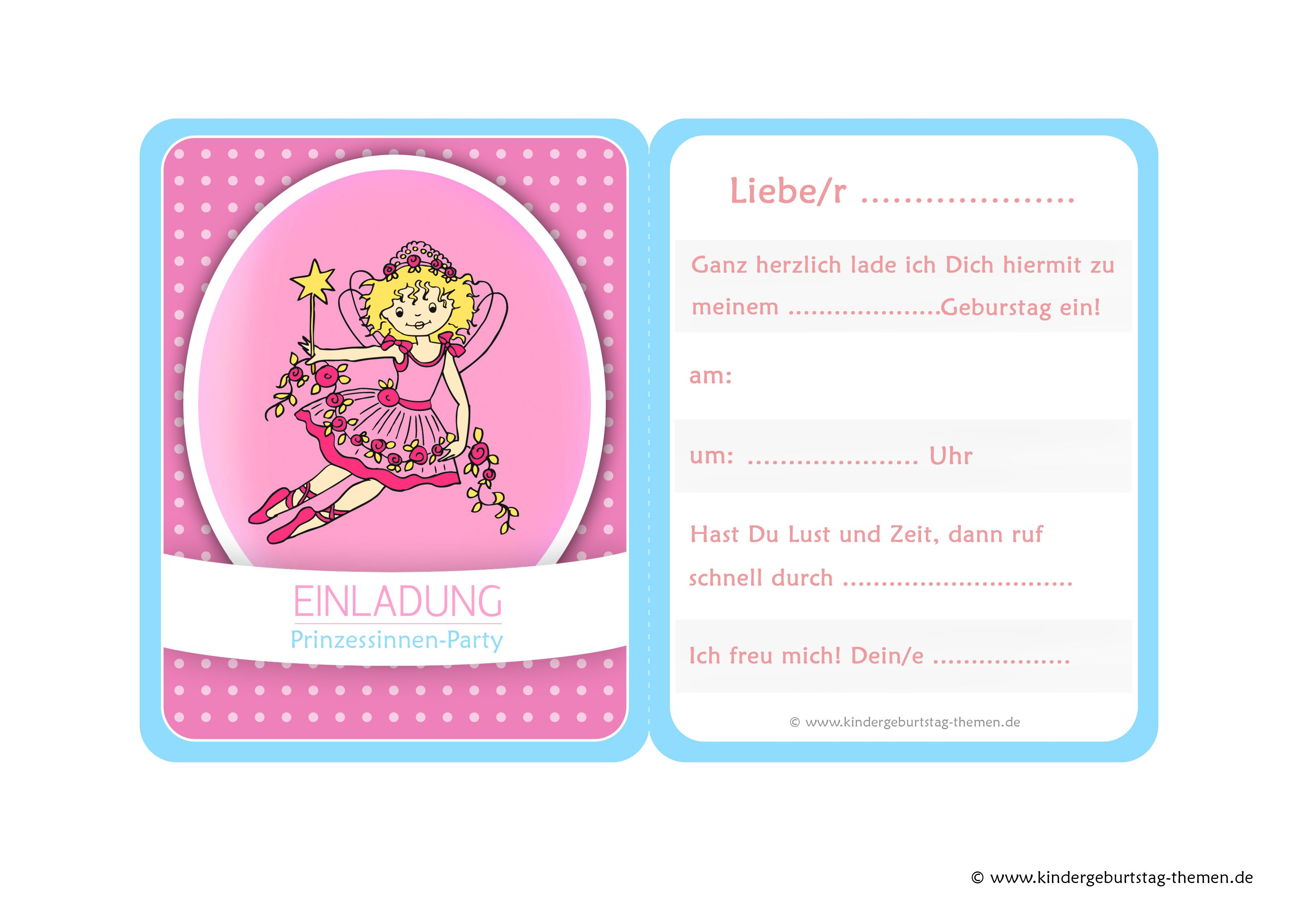 Prinzessin Einladung vier kostenlose Vorlagen zum Ausdrucken