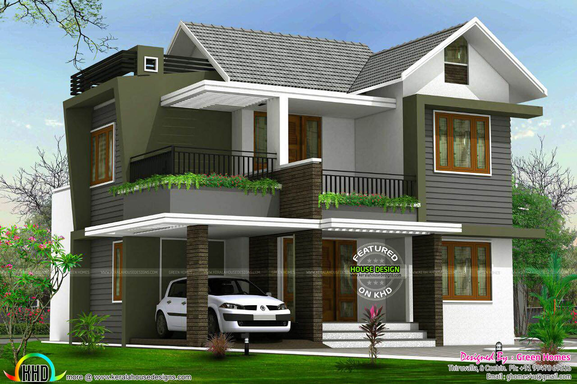 4BHK floor plan and elevation in 5 cent Kerala house