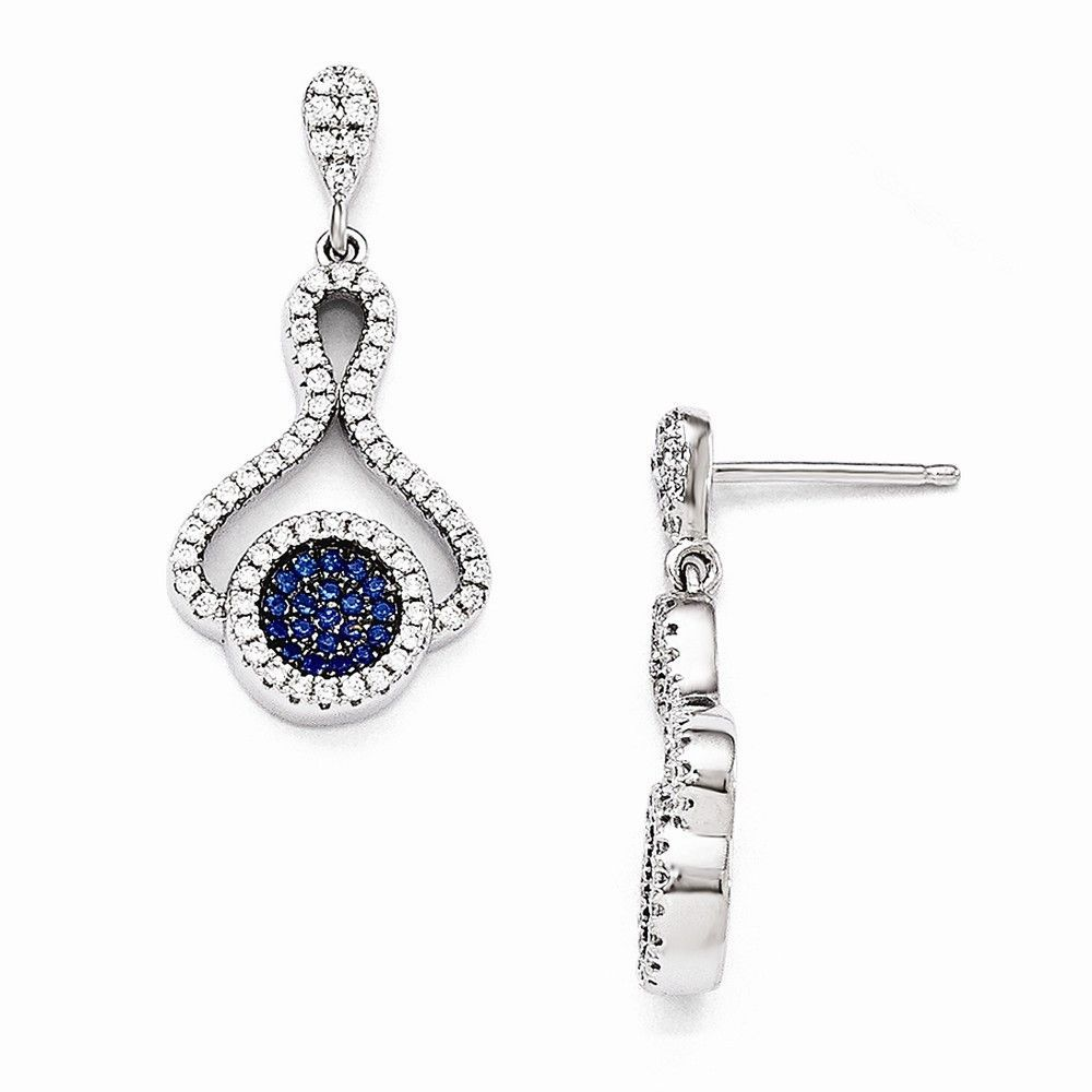 Sterling Silver Blue & White CZ Brilliant Embers Polished Post Earrings