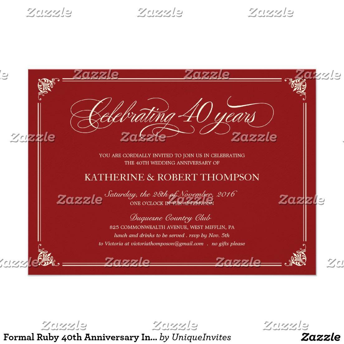 Formal Ruby 40th Anniversary Invitations | Pinterest | 40th ...