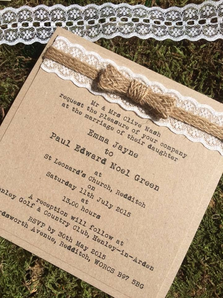 Sample rustic shabby chic vintage kraft wedding invitation with ...